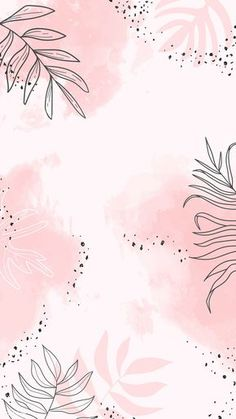 Download premium vector of Pink leafy watercolor mobile phone wallpaper