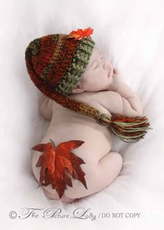 Fall Leaves Elf Pixie Hat Newborn Baby Crochet PHOTO PROP. $25.00, via Etsy.
