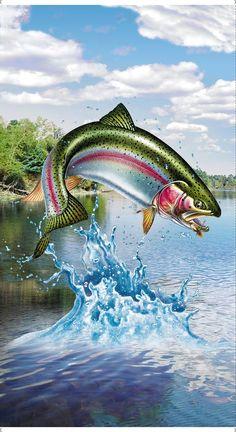 Fish Artwork, Fish Paintings, Trout Tattoo, Fish Tattoos, Trout Fishing, Fly Fishing, Rainbow Trout, Fish Silhouette, Silhouette Studio