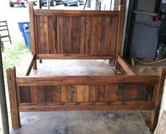 This is a variation of our Tall Headboard Rustic Oak Bed. Made from solid reclaimed oak for an authentic country look you simply cannot get any other … Rustic Platform Bed, Bed Platform, Reclaimed Wood Bed Frame, Rustic Wooden Bed Frame, Camas King, Oak Beds, Bed With Posts, King Size Bed Frame, Diy Queen Bed Frame