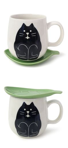 Kitty tea cup - I like that it could be used as a lid. I'm paranoid about dust and bugs getting in my tea. Crazy Cat Lady, Crazy Cats, Cat Mug, Mug Shots, Mug Cup, Tea Mugs, Ceramic Mugs, Tea Time, Tea Party