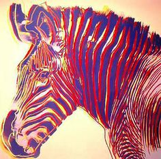 Andy Warhol, Endangered Species: Zebra represents fire element for artwork in fame area www.pinkdwelling.com
