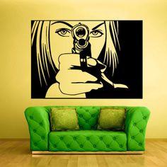 Wall Vinyl Sticker Decals Decor Art Bedroom Wall Decal Design Mural Portrait Girl with Gun