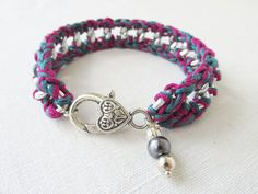 Dark Teal &  Fuchsia Adult Crochet Chain by Foreverafterbeading, $14.99