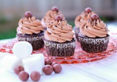 Chocolate cupcakes with malted frosting and toasted marshmallow filling