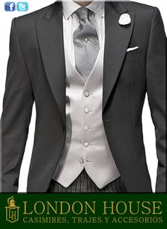 Pearl gray satin waistcoat with mother of pearl buttons combined with welsh tie, white linen handkerchief and satin flower. Wedding Tux, Wedding Attire, Wedding Dress, Morning Dress, Morning Suits, Groom And Groomsmen Attire, Groom Suits, Sharp Dressed Man, Groom Style
