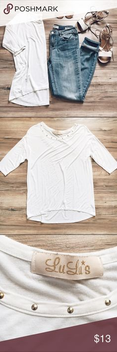 Lulu's White Top Nice basic white top with small gold studded detail at neckline. High-low hem and three-quarter sleeves. Excellent used condition. Absolutely love this top!! Lulu's Tops Tees - Short Sleeve