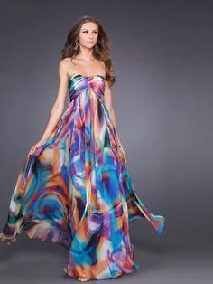 Print Chiffon Strapless Sweetheart Neckline Sleeveless Floor-Length Evening Dress