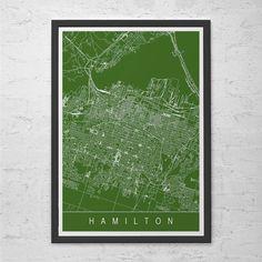 HAMILTON CITY MAP Art Print - Line Art City Map - Hamilton Ontario Canada Map Art Minimalist Art Print Customizable City Map