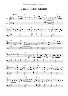 play popular music, free piano sheet music, 7 Years, Lukas Graham