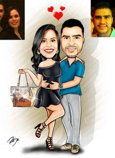 Caricaturas digitais, desenhos animados, ilustração, caricatura realista: Desenho de namorados !