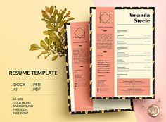 Gold heart Resume Template / CV Template/ Letterhead