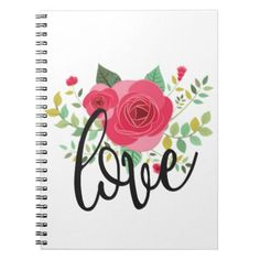 #floral love spiral notebook - #floral #gifts #flower #flowers