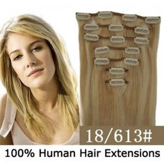 """15"""" 7pcs set Clip-in hair remy Human Hair Extensions #18/613,shop at www.costwe.com"""