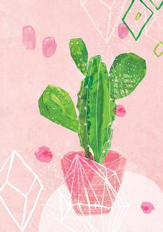 Pastel Cactus Art Print by lovelysweetwilliam on Etsy