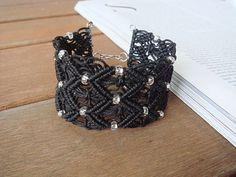 Items similar to Boho chic beaded black macrame lace cuff bracelet on Etsy Macrame Jewelry Tutorial, Macrame Bracelets, Cuff Bracelets, Hemp Jewelry, Unique Jewelry, Lace Cuffs, Macrame Patterns, Micro Macrame, Couture