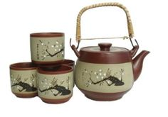 5 piece Japanese Plum Tree Tea Set (1 pot