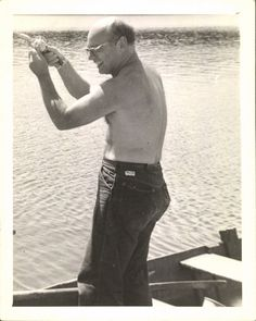 Vintage Black and White Photo Shirtless Man Fishing by delphiniumsblue, $5.00