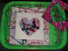 Marble paintings prints with stencil. gross motor. put clear plastic over top to make more kid friendly for the little guys in case they get too happy with shaking it.