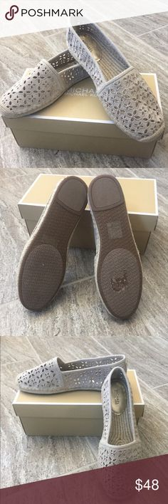 """NWT & NIB MICHAEL KORS """"Darcy"""" Espadrilles NWT & NIB MICHAEL by MICHAEL KORS """"Darcy"""" Slip On Espadrilles in Natural are comfortable & stylish.  This shoe features an appealing cut out canvas design. Jute heel. Almond toe. Canvas Upper. Slip on style. Cotton Lining. Rubber sole. Lightly padded insole. These shoes have never been worn. I took the price tag off and it left a mark on the sole. See picture. Super cute and comfortable. Smoke Free Home. MICHAEL Michael Kors Shoes Espadrilles"""