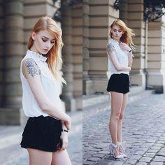 Katarzyna Konderak - Shirt, Deezee Heels, Shorts - Lace & tassels
