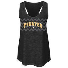 Majestic Pittsburgh Pirates Women's Black Baseball Dreamer Sequins Tank Top