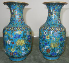 Antique 18/19th Century Chinese Pair Cloisonne Vases Flowers Metal Wire