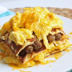 Breakfast Lasagna made with sausage, eggs, and cheese? The perfect breakfast for dad!