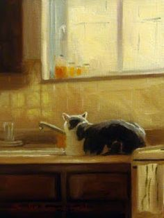 Jonelle Summerfield Oil Paintings: CAT ON THE COUNTER