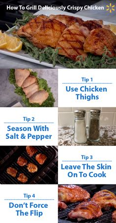Four quick tips for grilling delicious chicken! 1) Choose thighs to get the best combo of juicy and tasty. 2) Season simply with salt and pepper. 3) To lock in flavor and keep your chicken from drying, leave the skin on while cooking. Sear with high heat for 5-8 minutes. 4) Chicken sticking when you're flipping? Wait until it's brown and crispy. The chicken should release from the grill easily. Then, move to low heat for 5-10 minutes until done.    For more great cooking tips, tune in to Food Fi