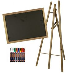 Chalkboard, Easel & Chalk pen Pack Just £168!  Next Day Delivery. Tall Teak Easel & Matching Chalk Board, with Pens.  #chalkboard #easel #creative #bundle