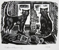 John O'Connor (1913 - 2004) - Two Cats, 1990 - Wood engraving