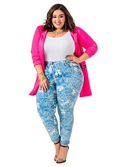 Fashion Bug Womens Plus Size Floral Print Skinny #Jeans www.fashionbug.us #PlusSize #FashionBug