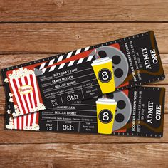 Movie Party Invitation Movie Ticket Invitation Instant by SunshineParties Movie Theater Party, Cinema Party, Movie Night Party, Movie Nights, Cinema Ticket, Movie Night Gift Basket, Invitation Ticket, Movie Party Invitations, Birthday Invitations