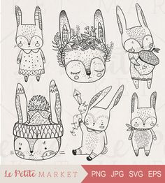 Cute Hand Drawn Digital Rabbits Clip Art, Hand Drawn Bunnies, Digital Bunny…