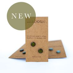 FREE SHIPPING ACROSS US AND CANADA!!The perfect everyday earring. Maboue's porcelain and stoneware studs are simple, versatile and unique. Every pair is cut, glazed, fired and assembled with care in a beautiful backyard studio. Infused with nature and simplicity, they are sure to follow you everywhere! This listing is for one pair of lightly textured olive green stoneware stud earrings (on soft black stoneware). The back and rims of studs are left unglazed.* Studs measur...