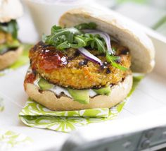 Vegetarian : Carrot & Sesame Burgers.  Can be cooked on the barbeque (helpful suggestions from commenters).