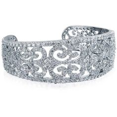 Bling Jewelry Flashy Filigree Cuff ($100) ❤ liked on Polyvore featuring jewelry, bracelets, clear, cuff-bracelets, clear crystal jewelry, art deco jewelry, filigree cuff bracelet, bride jewelry and bangle cuff bracelet