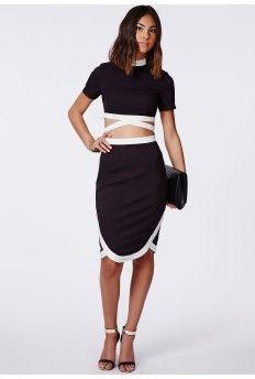 Alma Wrap Hem Contrast Midi Skirt Black