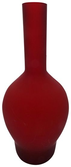 Red satin glass vase, dating from the 1960's. We love the solid red color and…