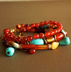 Carnelian, Turquoise, and Gold Coral MultiStrand Bracelet; Woojoo