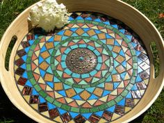Mosaic covered round tray, blue, green, yellow, brown vitreous mosaic, home or kitchen decoration on Etsy, 40,93 €