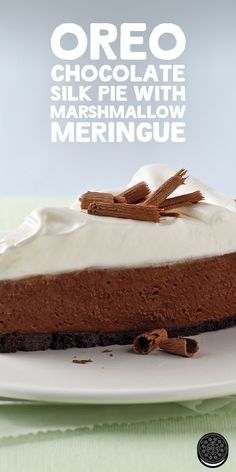 With a combination of marshmallows, Oreo cookies and chocolate, this OREO Chocolate Silk Pie with Marshmallow Meringue is sure to be a favorite at your next dessert table.
