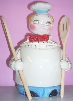 Davar Campbell Kid Vintage Nodder Chef cookie jar Free ship Continental USA ~Jazz'e Junque ~ www.jazzejunque.com