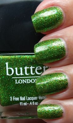 Butter London polish - green glitter nails