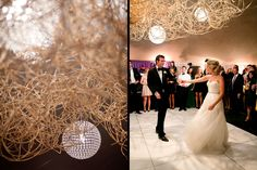 Hanging modern crystal spherical chandeliers and natural caning sculpture hanging over dance floor.  Photos courtesy of Larissa Cleveland Photography. Design by Waterlily Pond / Floral Artistry & Event Design / San Francisco, California. Santa Lucia Preserve, Carmel Valley.