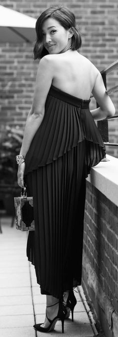 Black Accordion Pleat Off Shoulder Backless Maxi Dress by Gary Pepper