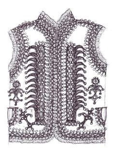 Drawing of a traditional 'keptar', or sheepskin vest, of the style worn in Kolomyia - with the inclusion of additional pompoms in a style popular in neighbouring Horodenka region - from the ethnographic region of Pokuttya in Carpathian Western Ukraine (Drawn by Dave Melnychuk) Folk Costume, Costumes, Needlepoint, Ukraine, Vests, Tunics, Birds, Symbols, Inspirational