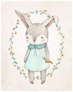 Bunny Print  8X10 от KelliMurrayArt на Etsy