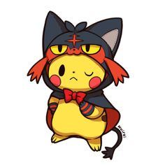 Pikachu dressed as Litten                                                                                                                                                      More